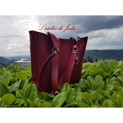 Sac cabas cuir rouge doublé textile