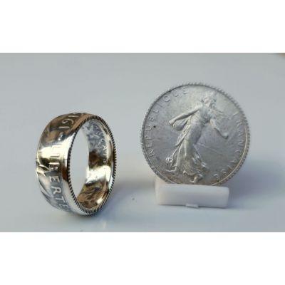 bague pièce de monnaie 1 Franc Semeuse en argent (coin ring)