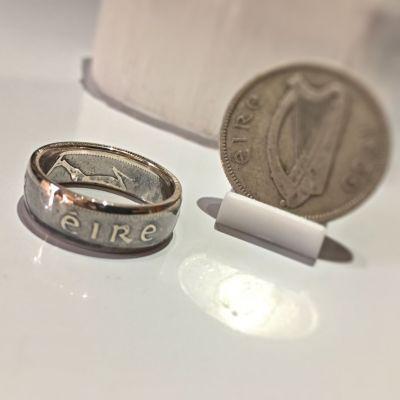 Bague pièce de monnaie 1 shilling d'Irlande en argent (coin ring)