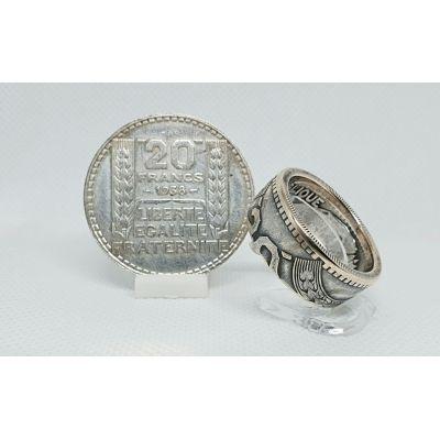 Bague pièce de monnaie 20 francs Turin en argent (coin ring)