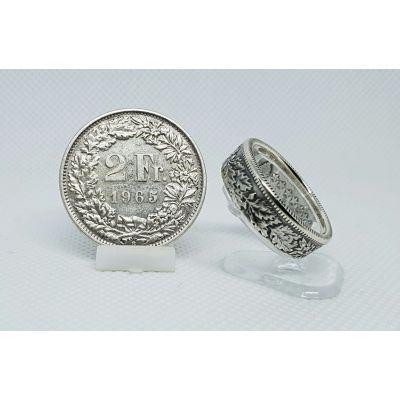 Bague en argent pièce de 2 francs Suisse (coin ring)