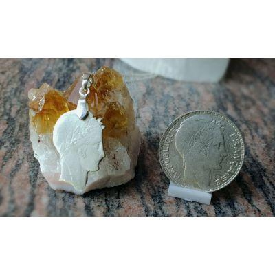 Pendentif en argent avec pièce de 10 Francs Turin découpée a la main