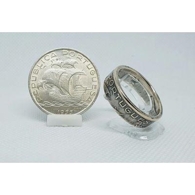 Bague pièce de monnaie 10 Escudos du Portugal en argent (coin ring)