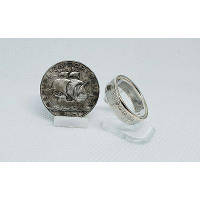 Bague pièce de monnaie 5 Escudos du Portugal en argent (coin ring)