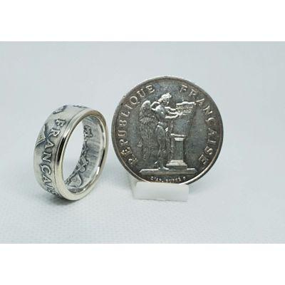 """Bague pièce de monnaie 100 Francs """"Droits de l'homme"""" en argent (coin ring)"""