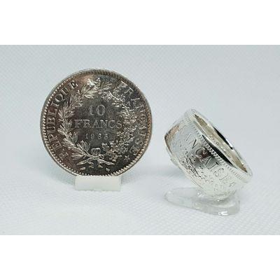Bague pièce de 10 francs Hercule en argent (coin ring)