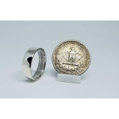 Bague artisanale Quarter Dollar en argent lisse (coin ring)