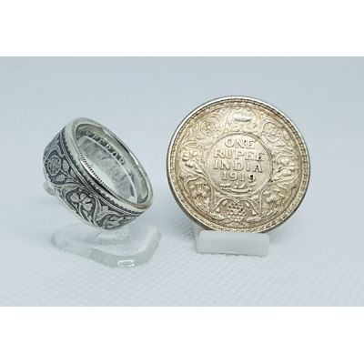 Bague pièce de monnaie 1 Rupee d'Inde en argent (coin ring)