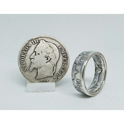Bague pièce de monnaie 2 Francs Napoléon en argent (coin ring)