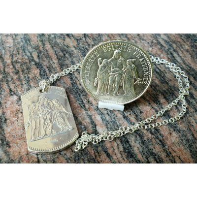 Pendentif en argent avec pièce de 50 Francs Hercule découpée a la main