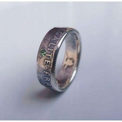 Bague pièce de monnaie 2 francs Semeuse en argent serti d'une Tsavorite (coin ring)