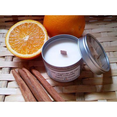 Bougie naturelle mèche en bois parfum orange épicée