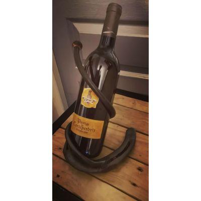 Porte bouteille fer forgé et bille de bois