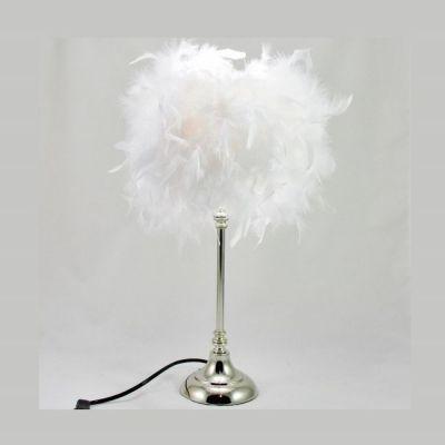 Lampe plumes boa plumes blanches sur pied métal chromé