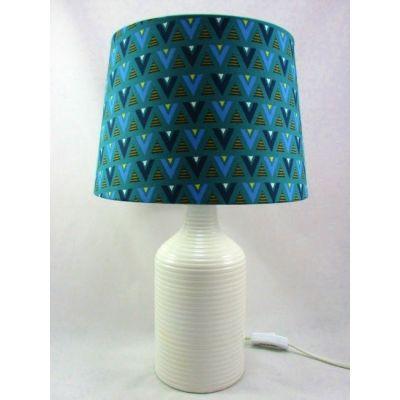 Lampe de salon céramique blanche abat-jour graphique bleu et vert
