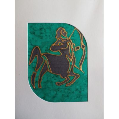 Carte en soie signe astrologique du Sagittaire