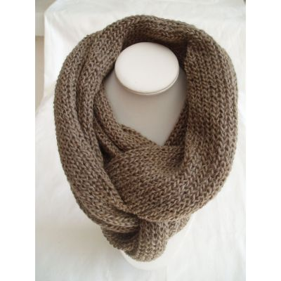 GRAND TOUR DE COU / SNOOD taille unique COLORIS taupe