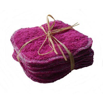 lot de 10 lingettes en coton bio Prune en 10cm/10cm