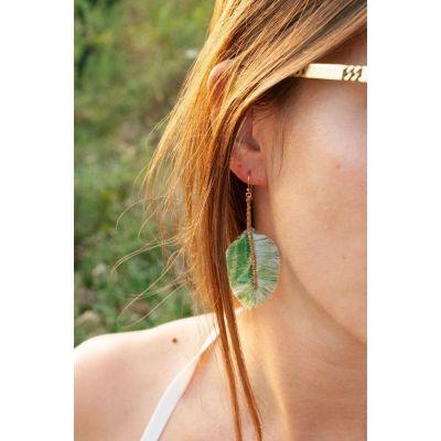 Boucles d'oreilles plumes : Piverts dorés