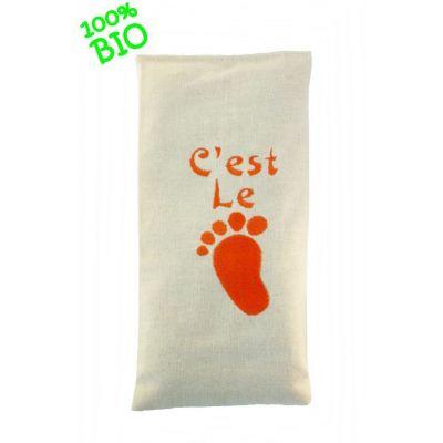 """Bouillotte sèche 19/10cm bio """"c'est le pied """" orange """""""
