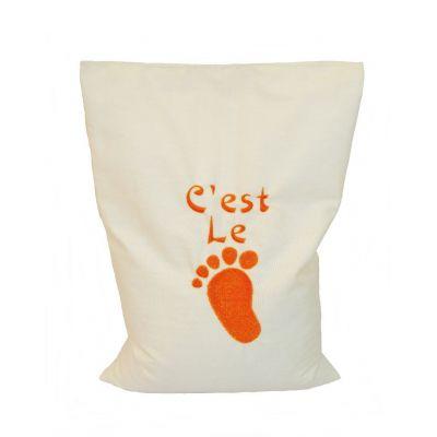 """Bouillotte sèche 28/20cm bio """"C'est le pied """" Orange"""