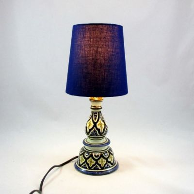 Lampe céramique Tunisie abat-jour uni bleu