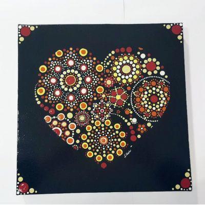 Tableau à l'acrylique cœur