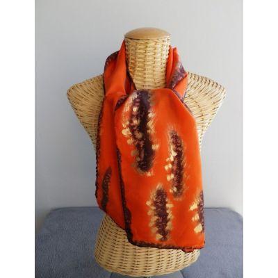 Foulard, écharpe, étole en soie flamme, caramel et or