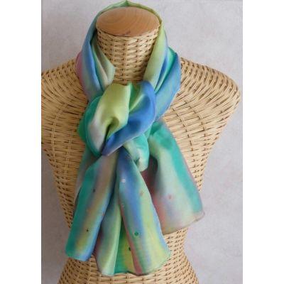Foulard, écharpe en soie pastel décor gutta cuivre@evysoie