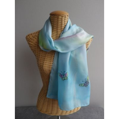 Echarpe en soie, pastel, motifs papillons