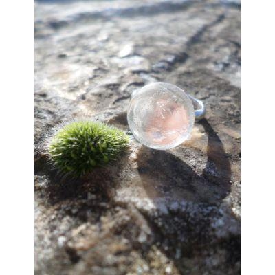 Bague, cabochon, en cristal de roche, et monture, argent 925, taille réglable