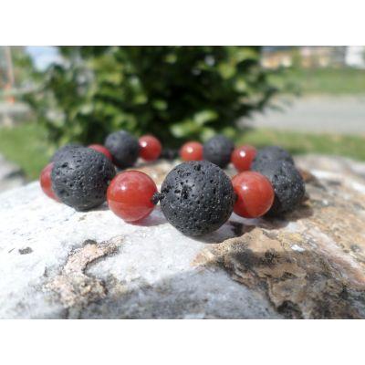 """Bracelet, mélange spécial, """" colère et jalousie"""", en perles, de cornaline, et de pierre de lave, taille réglable, macramé, unisexe"""