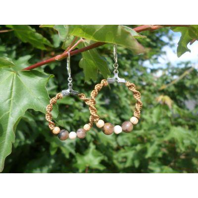 Boucles d'oreilles, créoles, en perles, de chiastolite, opale rose, bois et argent 925