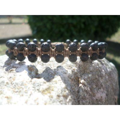 Bracelet, renouveau et protection, en pierre de lave, macramé, taille réglable, unisexe