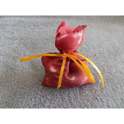 sac lavande en soie, rouille avec ruban jaune