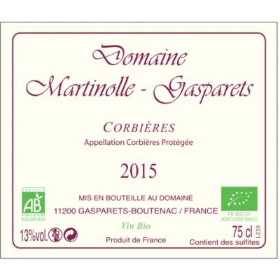 CORBIERES ARTISANAL ROUGE 2015 BIO Médaille d'OR Macon