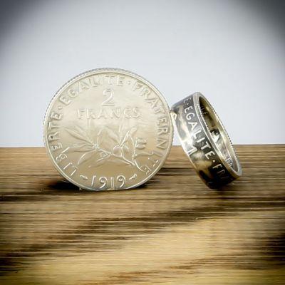 Bague en pièce de monnaie de 1 franc Semeuse (France) en argent 20 carats - Livraison offerte