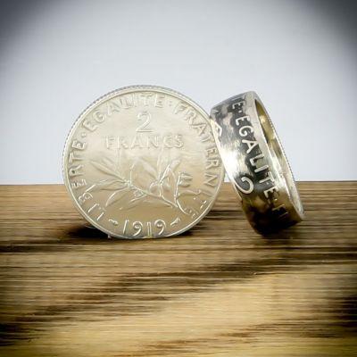 Bague en pièce de monnaie de 2 francs Semeuse (France) en argent 20 carats - Livraison offerte