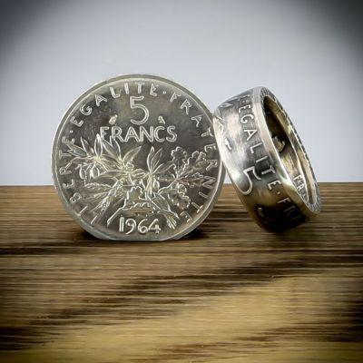Bague en pièce de monnaie de 5 francs Semeuse (France) en argent 20 carats - Livraison offerte