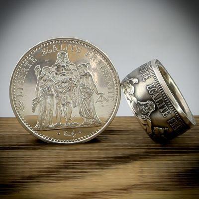 Bague en pièce de monnaie de 10 francs Hercule (France) en argent 21 carats - Livraison offerte