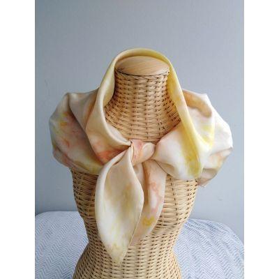 foulard en soie stylisé, jaune, corail, rouille@evysoie