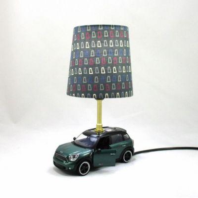 Lampe voiture abat-jour fond vert de gris imprimé graphique @Rêve de Lampes