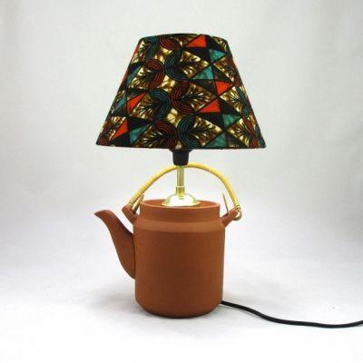 Lampe théière abat-jour wax motifs graphiques @Rêve de Lampes