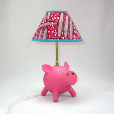 Lampe cochon rose abat-jour wax rose et turquoise @Rêve de Lampes
