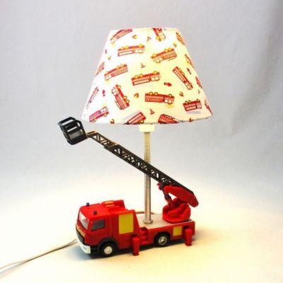 Lampe enfant chevet camion de pompiers personnalisable SUR COMMANDE @Rêve de Lampes