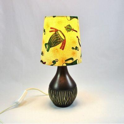 Lampe céramique marron abat-jour wax musique @Rêve de Lampes