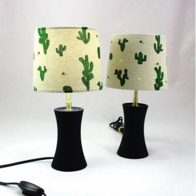 Lampe chevet porcelaine noire abat-jour cactus @Rêve de Lampes
