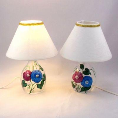 Chevet liserons peints sur verre abat-jour blanc coton damassé ancien @Rêve de Lampes