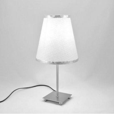 Lampe de chevet inox abat-jour blanc pailleté argent @Rêve de Lampes