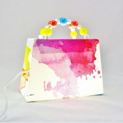 Lampe sac à main blanc imprimé de motifs taches d'encre colorées @Rêve de Lampes